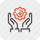development, engine, gear, hands, production, work, workflow icon