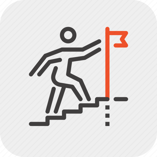 Career, flag, goal, ladder, person, stairs, success icon - Download on Iconfinder