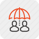 care, customer, people, protection, rain, service, umbrella icon