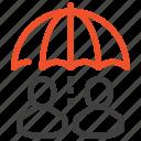 care, customer, people, protection, rain, service, umbrella icon