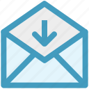 envelope, letter, mail, message, open envelope, received icon