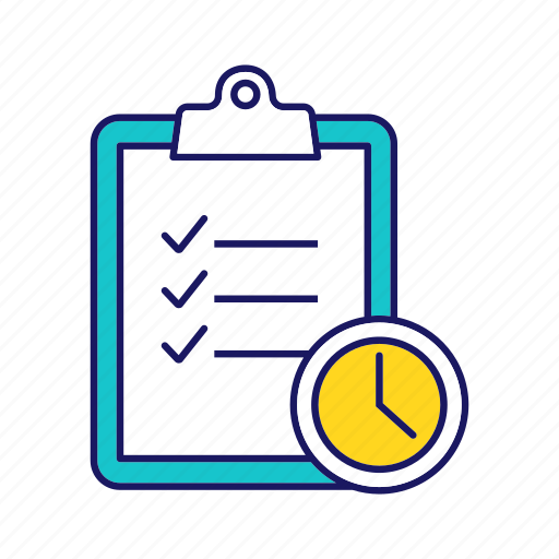 business, checklist, clipboard, deadline, task, test, time management icon