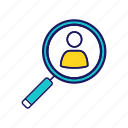 employment, headhunting, magnifier, personnel, recruitment, search, staff icon