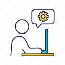 chat, cogwheel, help, settings, speech bubble, support, technical icon