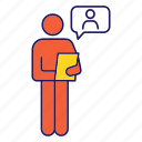 candidate, clipboard, interview, job, person, resume, speech bubble icon