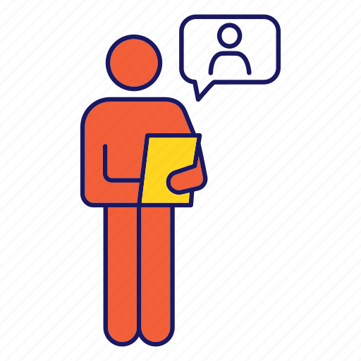 Candidate, clipboard, interview, job, person, resume, speech bubble icon - Download on Iconfinder