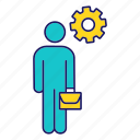 briefcase, business, businessman, cogwheel, employee, manager, person icon