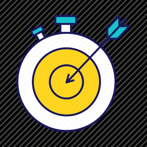 clock, deadline, goal, stopwatch, target, task, time management icon