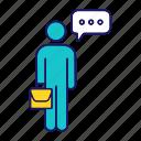 briefcase, chat, conversation, man, person, speech bubble, talk