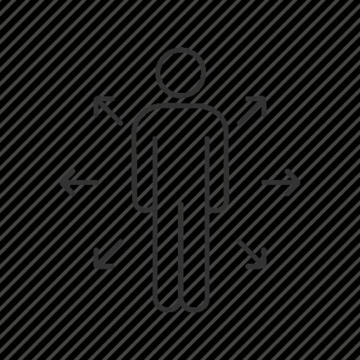 arrow, business, choice, decision, direction, management, person icon