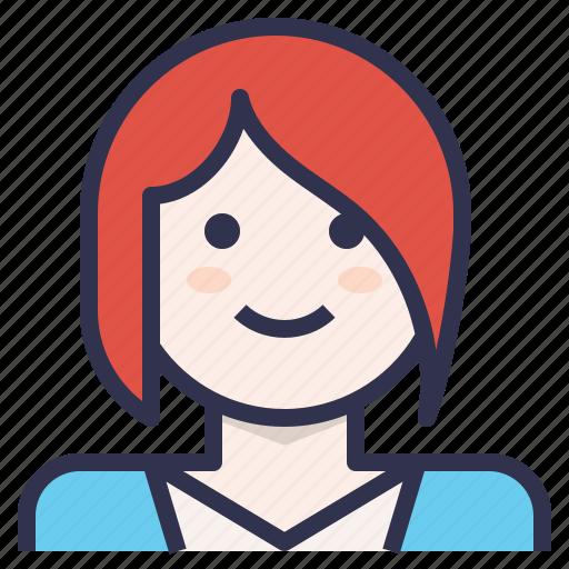 avatar, bang, businesswoman, short hair, smile icon