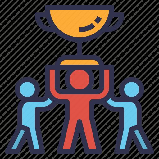 achieve, success, team, teamwork, trophy, win icon