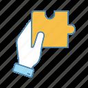 adjacent piece, decision, hand, match, problem solving, puzzle, solution icon