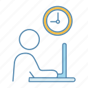 computer, job, office, person, work, working hours, workplace icon