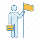 achievement, business, flag, goal, person, success, target icon