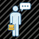 briefcase, chat, conversation, man, person, speech bubble, talk icon
