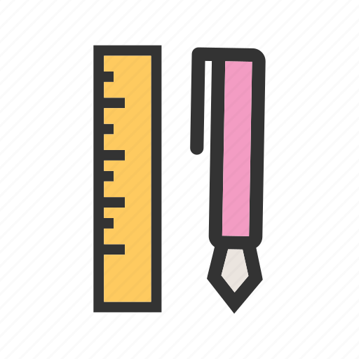 colorful, education, items, paper, pencil, school, stationery icon
