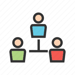 business, connection, meeting, office, people, team, technology icon