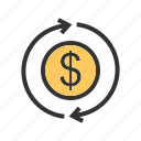 bill, cash, dollar, exchange, money, transaction, transfer icon