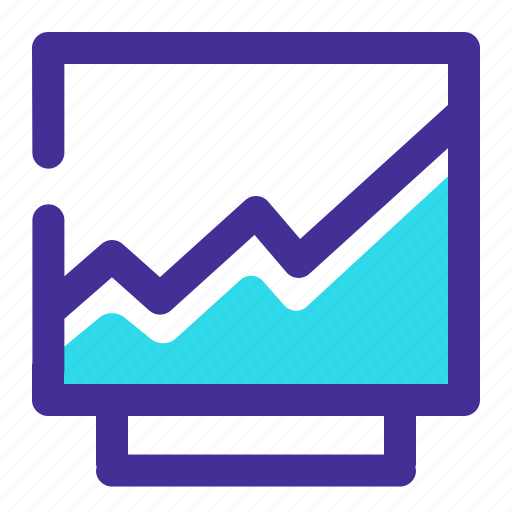 analytic, business, chart, computer, monitor, screen, web icon icon