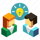 brainstorm, brainstorming, business, conversation, creative, idea, people icon
