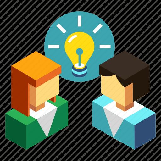 brainstorm, brainstorming, business, conversation, creative, idea, people icon