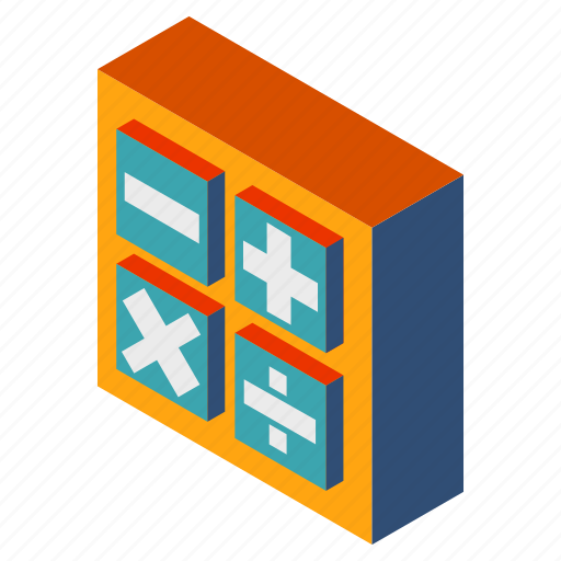 business, calculator, development, finance, isometric, mathematics, technology icon