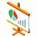 business, chart, diagram, isometric, presentation, presenting, report icon