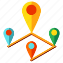 direction, location, map, navigation, pin, road, route icon