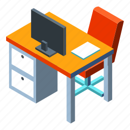 business, computer, desk, office, space, work, workspace icon