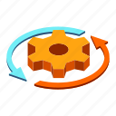 business, efficiency, gear, productivity, progress, rotation, working icon
