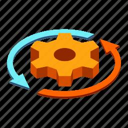 business, efficiency, gear, productivity, progress, rotation, working icon