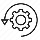 arrow, cog, gear, rotate icon