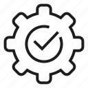 check, cog, gear, sure, tick icon