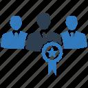achievement, award, best quality, group award, leadership, ribbon, team award icon