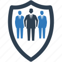 business protection, business security, management shield, team ledger icon