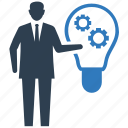business gear, business idea, creativity, idea, planning, solution, strategy icon