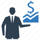 business analytics, businessman, graph, presentation, statistics icon