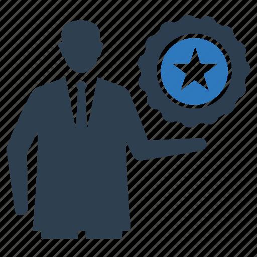 award, businessman, logistics, medal, star, star medal, win icon