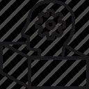 box, outside, thinking, creative, gear, head, innovation