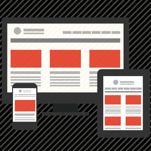 adaptive, computer, design, development, device, responsive, web icon