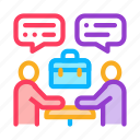 business, businessman, conference, discussion, meeting, outlie, seminar icon
