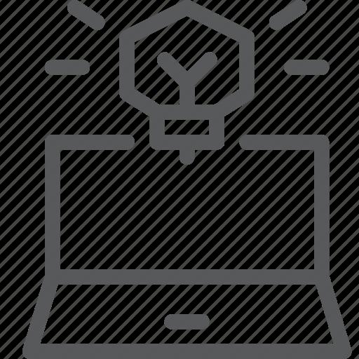 bulb, business, fresh, idea, laptop, light, notebook, startup icon