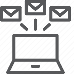 batch, business, email, envelope, forward, laptop, multiple, notebook icon