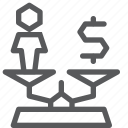 balance, business, cash, dollar, equal, scale, user, weight icon