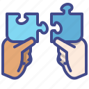 hand, network, partner, puzzle icon