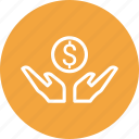 coin, dollar, hands, money icon