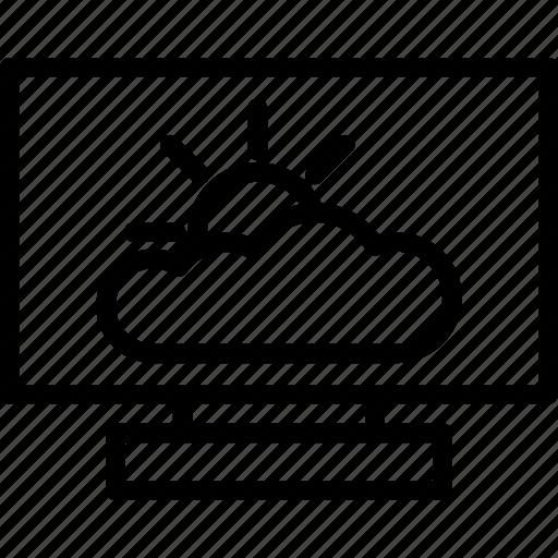 cloud, cloud computing, computer, screen, weather icon