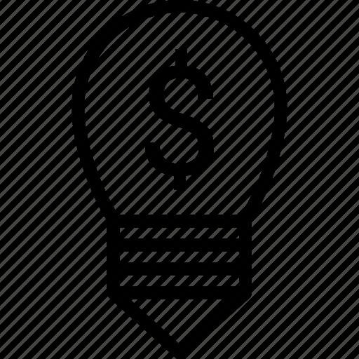 bulb, dollar, idea business, light icon
