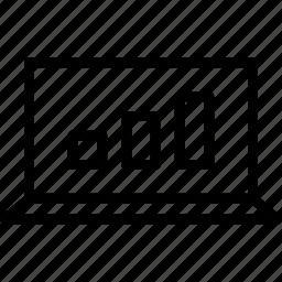 bars, chart, monitor, screen icon